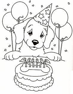 Happy Birthday Puppy Coloring Page