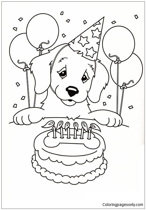 Happy Birthday Puppy Coloring Page