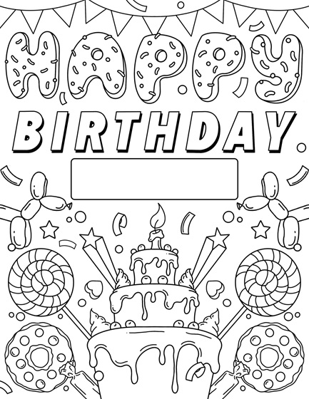 Happy Birthday sign free Coloring Page
