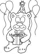 Happy Birthday Teddy Bear Coloring Page