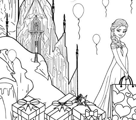 Happy Birthday Elsa Coloring Page