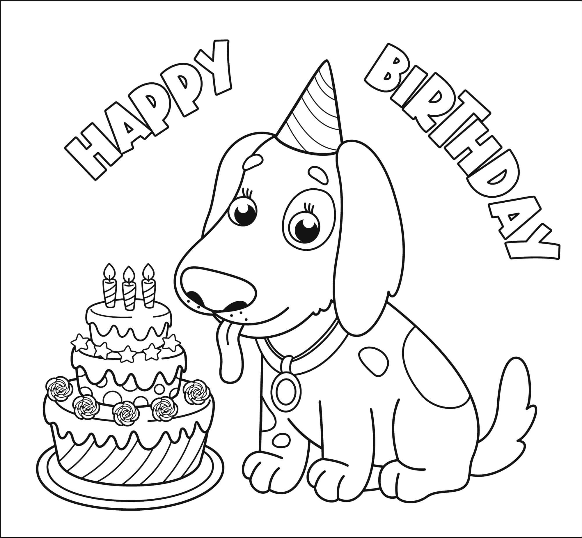 Happy birthday with dog Coloring Page
