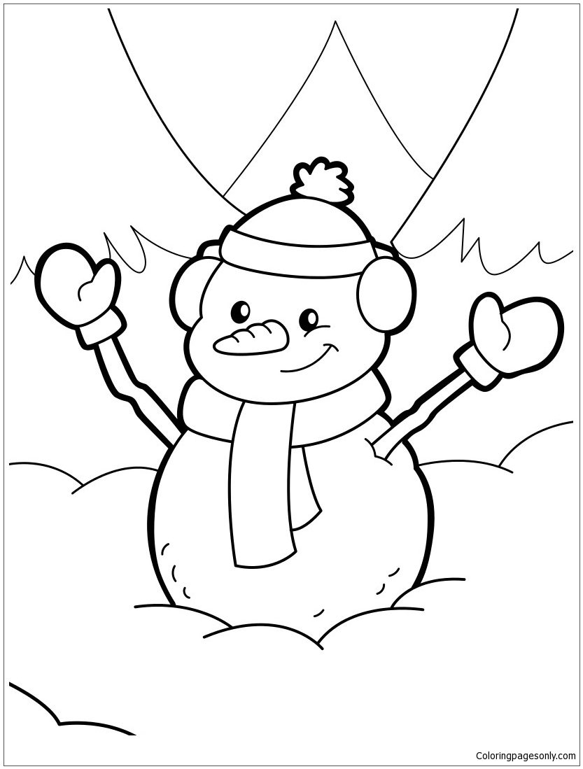 Happy christmas snowman coloring page free coloring for Free coloring pages snowman