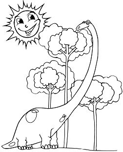 Happy Diplodocus And Smiling Sun