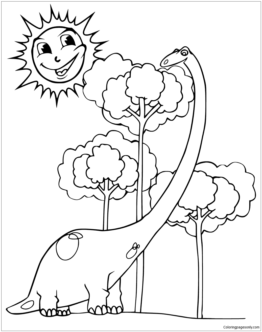 Happy Diplodocus And Smiling Sun Coloring Page