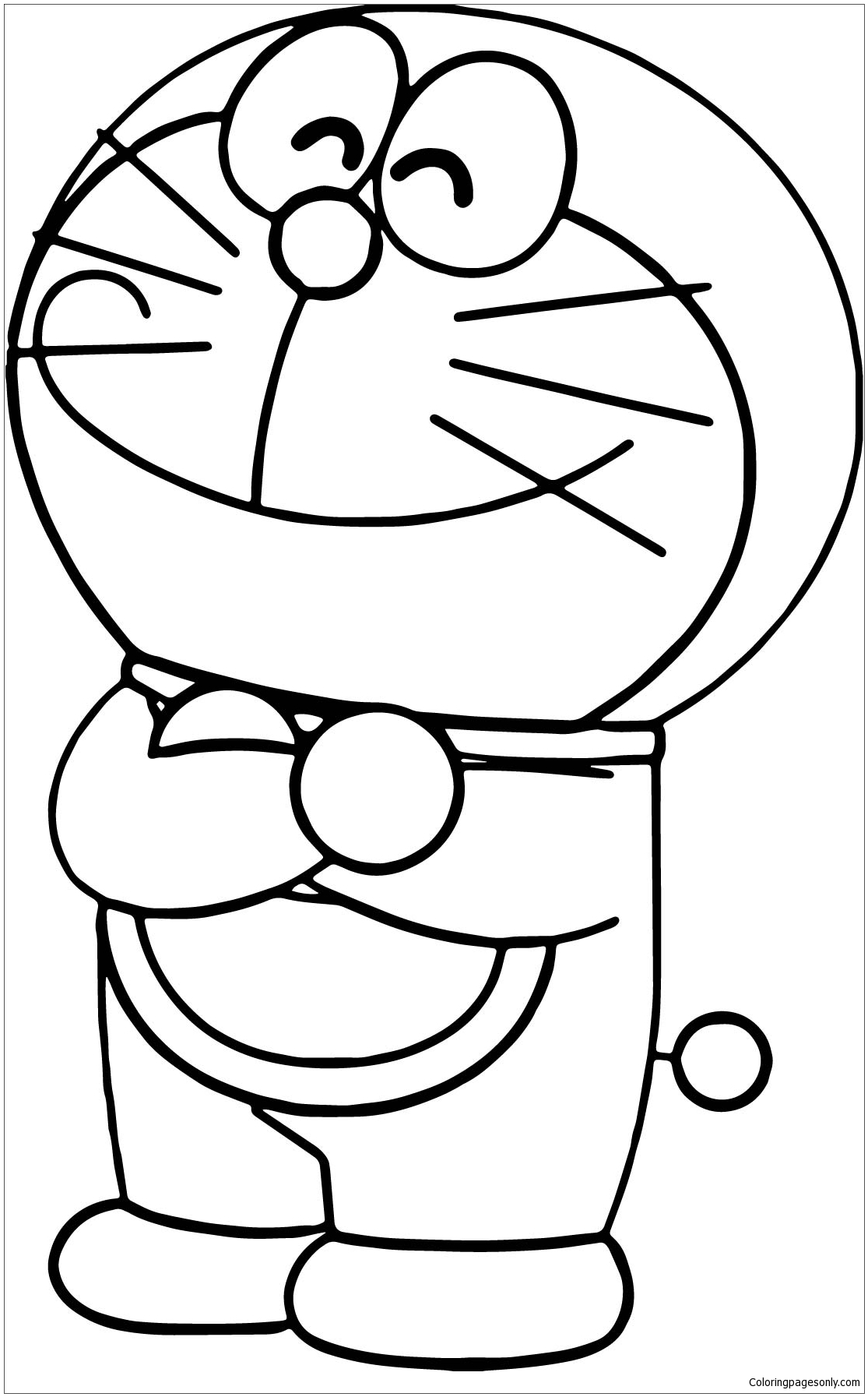 Happy Doraemon 1 Coloring Page