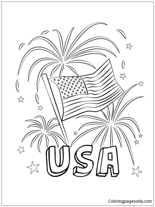 Happy Fourth-USA Fireworks Coloring Page