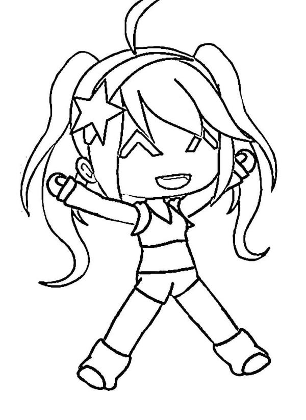 Happy Girl is wearing swimsuit Coloring Page