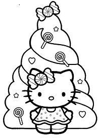 Happy Holidays Hello Kitty Coloring Page