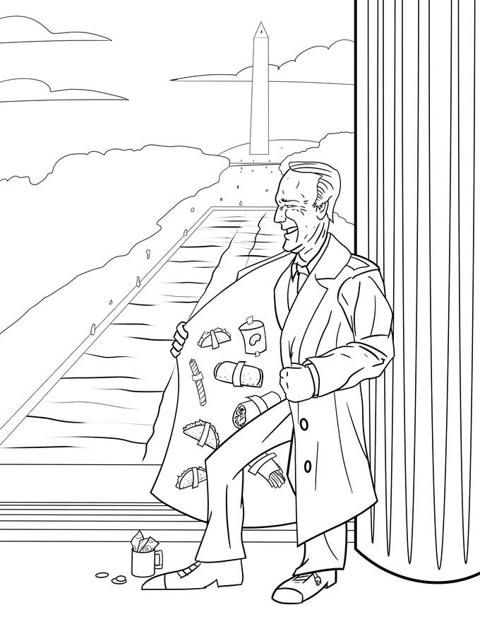 Happy Joe Biden Image Coloring Page