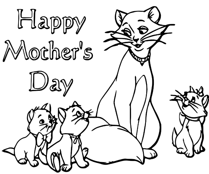 Happy Mother Day Cat Coloring Page