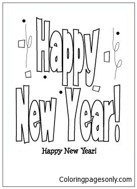 Happy New Year 10 Coloring Page