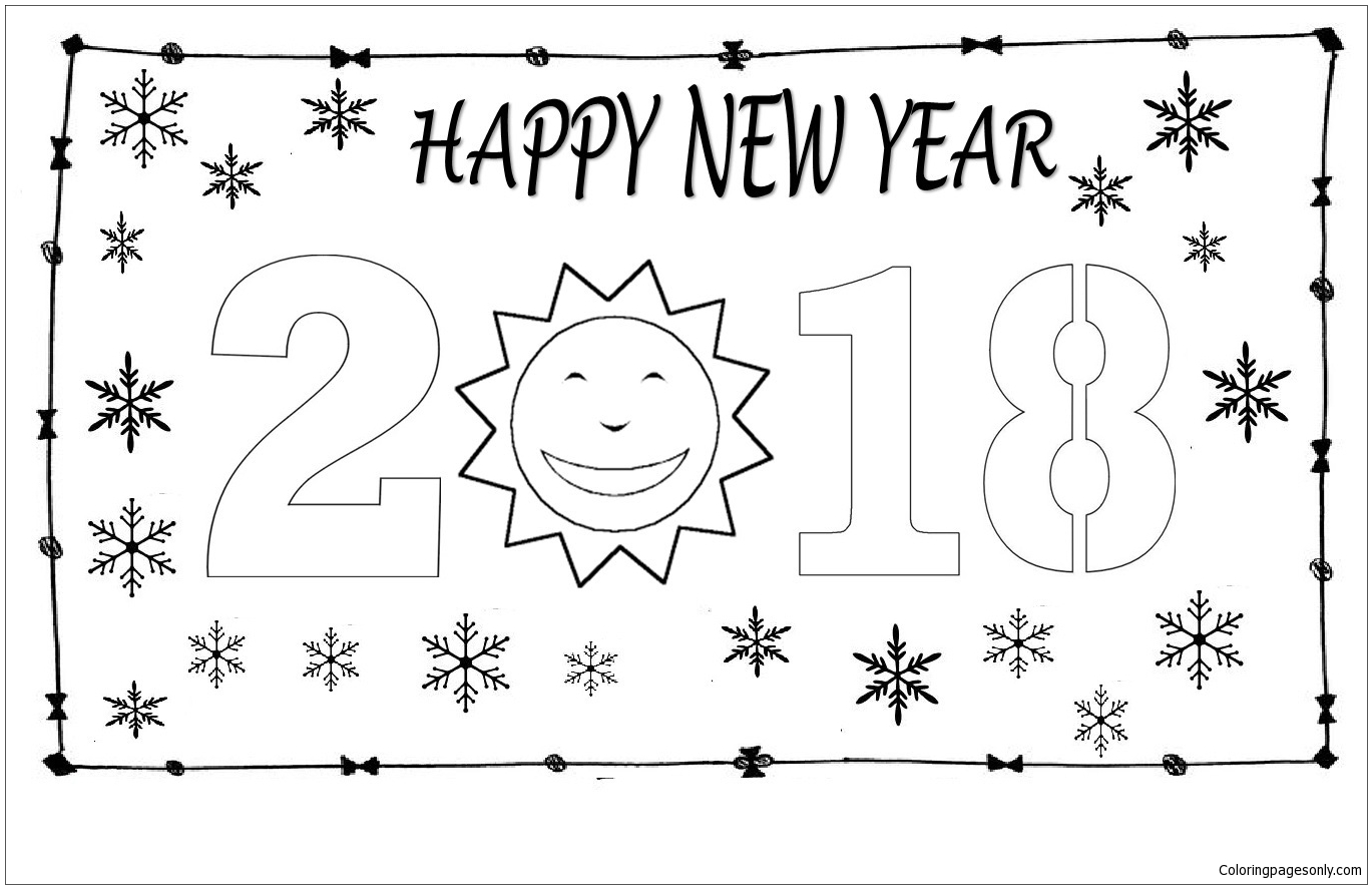 Happy New Year 12 Coloring Page
