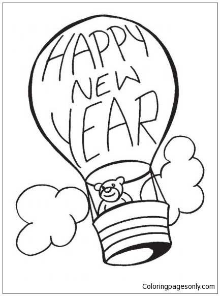 New Year Baloon Coloring Page