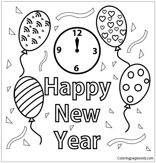 Happy New Year 2 Coloring Page
