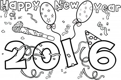 Happy New Year 2016 Coloring Page
