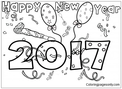 Happy New Year 2017 Coloring Page