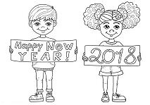 Happy New Year 2018 Kids Coloring Page