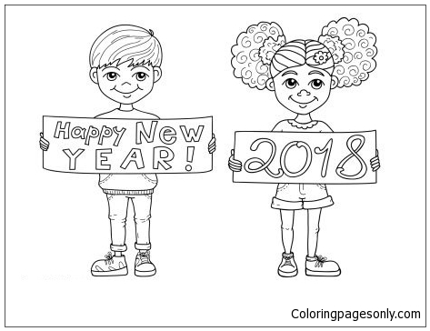 happy new year 2018 kids coloring page - Kids Colouring Page