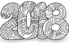 Happy New Year 2018 Coloring Page