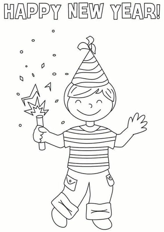 Happy New Year 2021 Clock Coloring Pages Happy New Year Coloring Pages Free Printable Coloring Pages Online