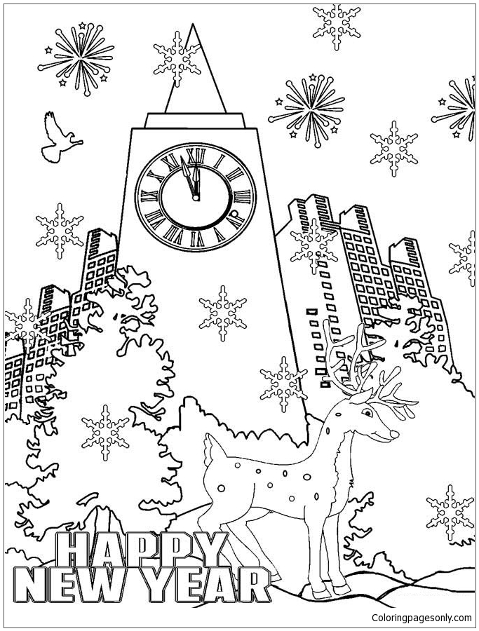 Happy New Year 3 Coloring Page