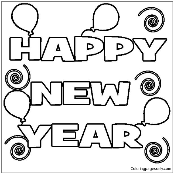 Happy New Year 5 Coloring Page