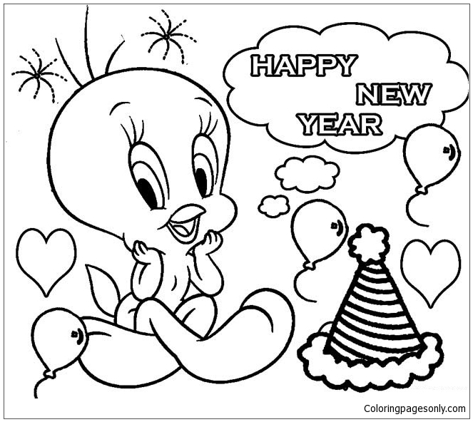 Happy New Year 7 Coloring Page