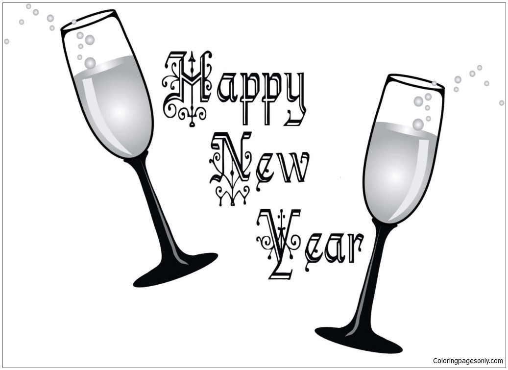 Happy New Year 8 Coloring Page