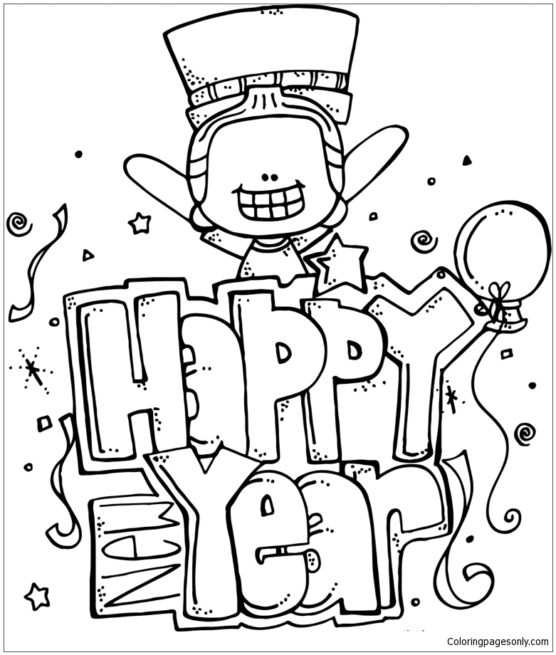 Happy New Year 9 Coloring Page