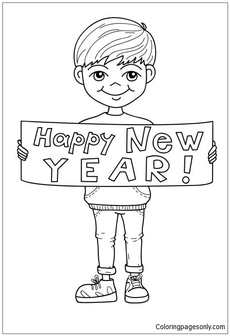 Happy New Year Boy Coloring Page