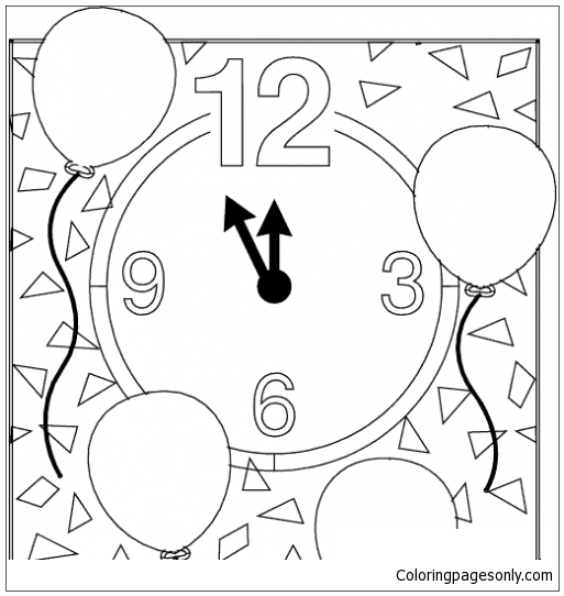 Happy New Year Clock Coloring Page
