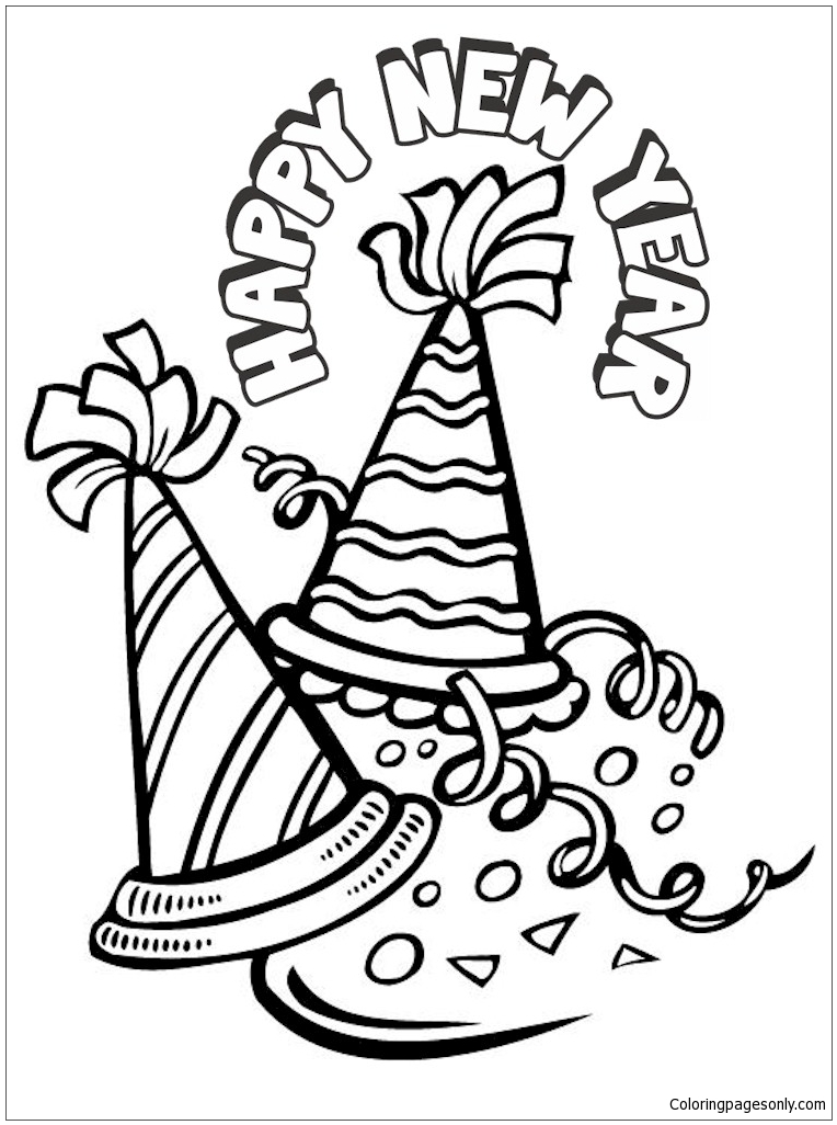 Happy New Year Hat 1 Coloring Page