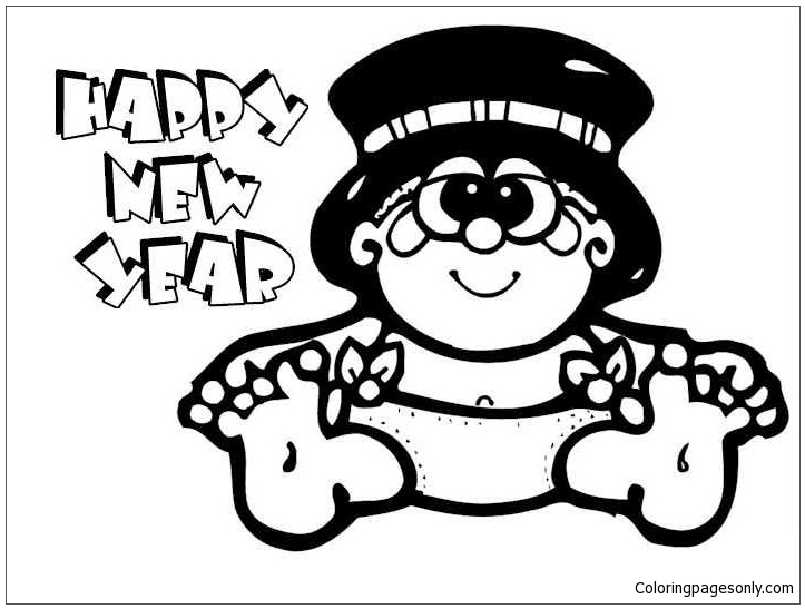 Happy New Year Hat 2 Coloring Page