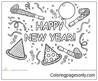 Happy New Year Hat Coloring Page
