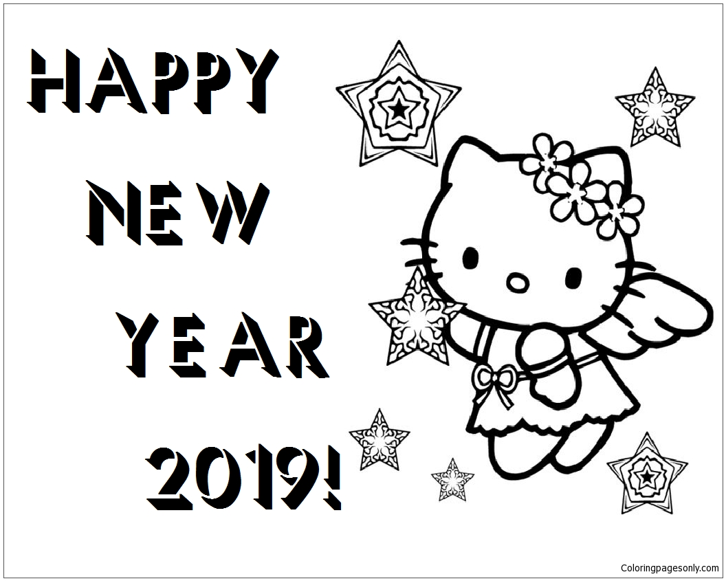 Happy New Year Hello Kitty 2019 Coloring Page Free Coloring Pages
