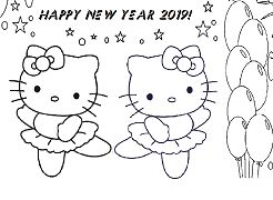 Happy New Year Hello Kitty And Mimmy Coloring Page