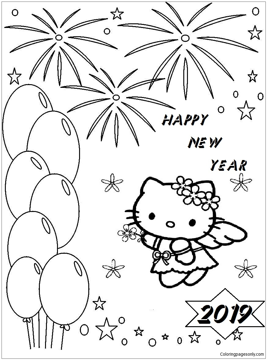 Happy New Year Hello Kitty Coloring Page - Free Coloring Pages Online