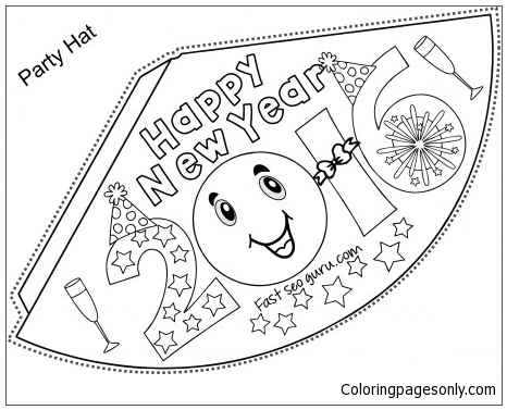 Happy New Year Party Hats Coloring Page Free Coloring Pages Online