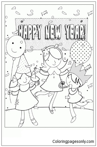 Happy New Year Party Coloring Page