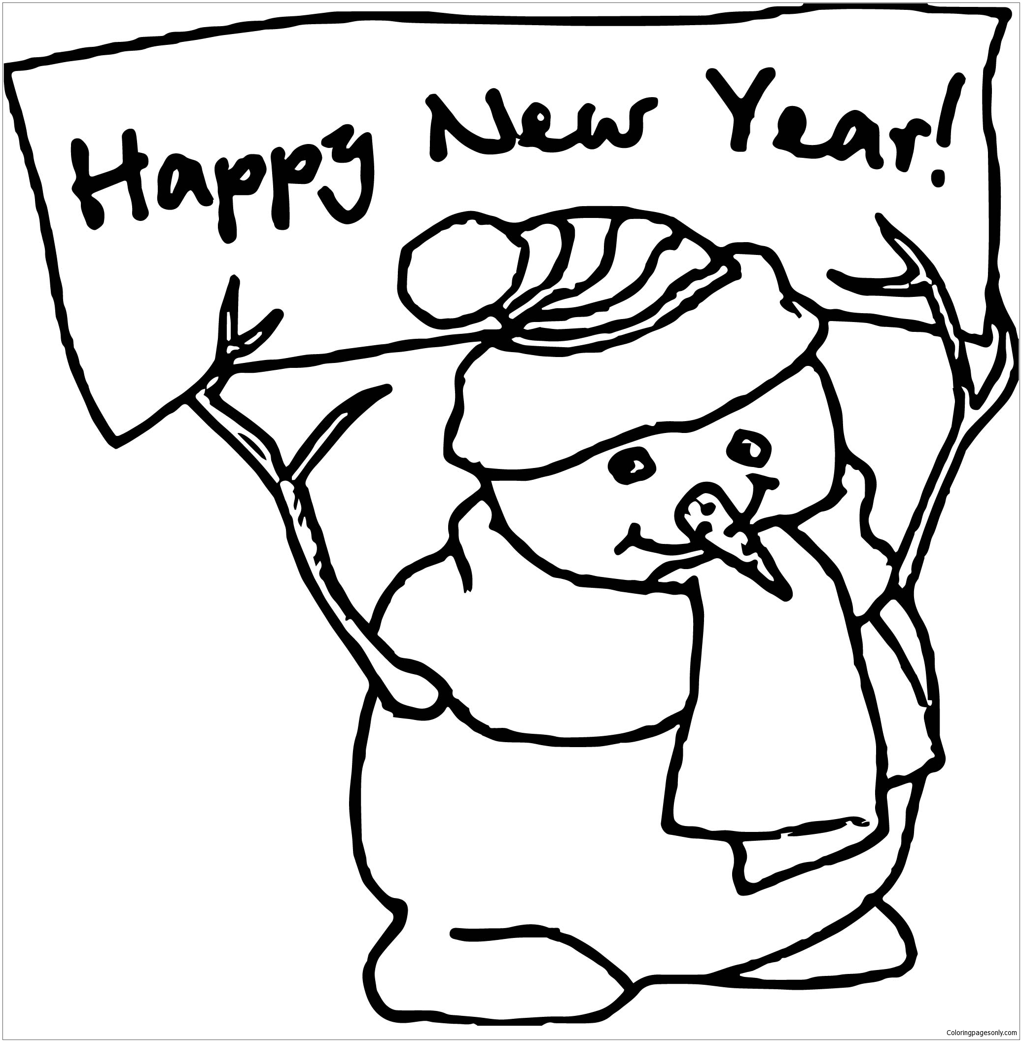 Happy New Year Snowman Coloring Page