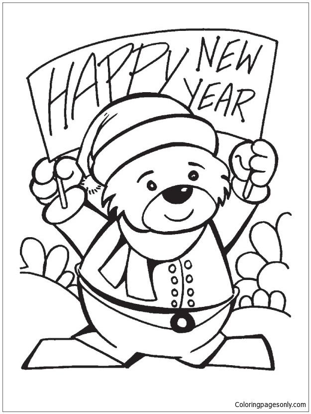Happy New Year Teddy Bear Coloring Page