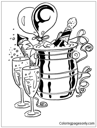 Happy New Year With Champagne Coloring Page