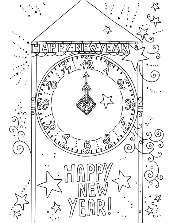 Happy New Year With Clock Coloring Page