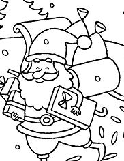Happy Santa Claus Delivering Presents Christmas