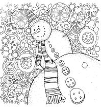 Happy Snowman With Snowflakes