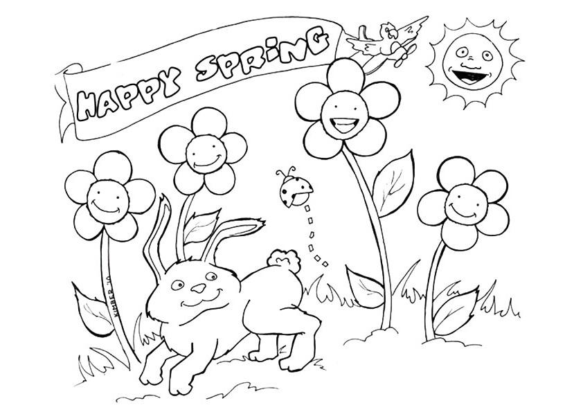 Happy Spring Season Coloring Page