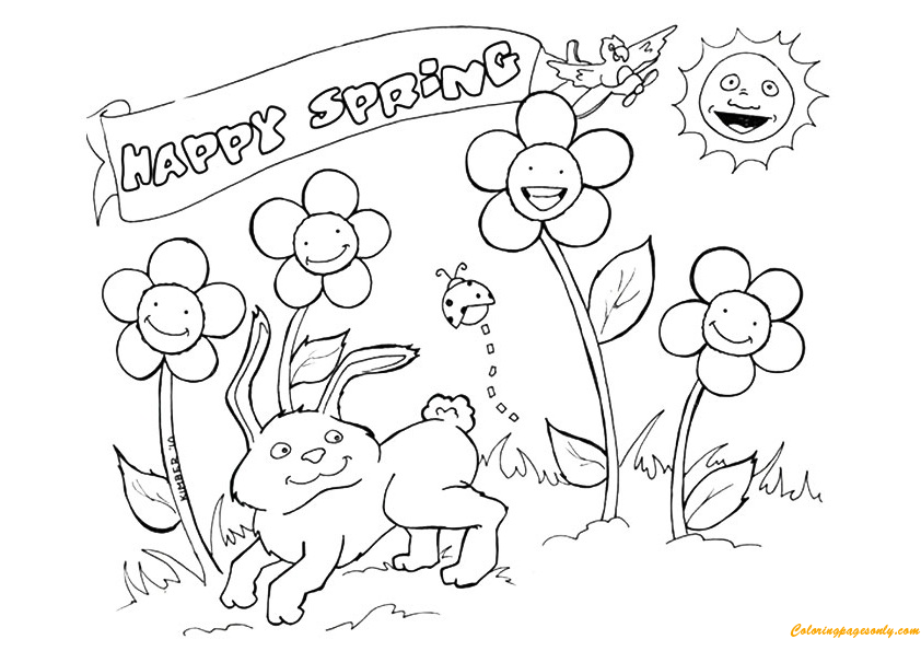 happy spring season coloring page free coloring pages online