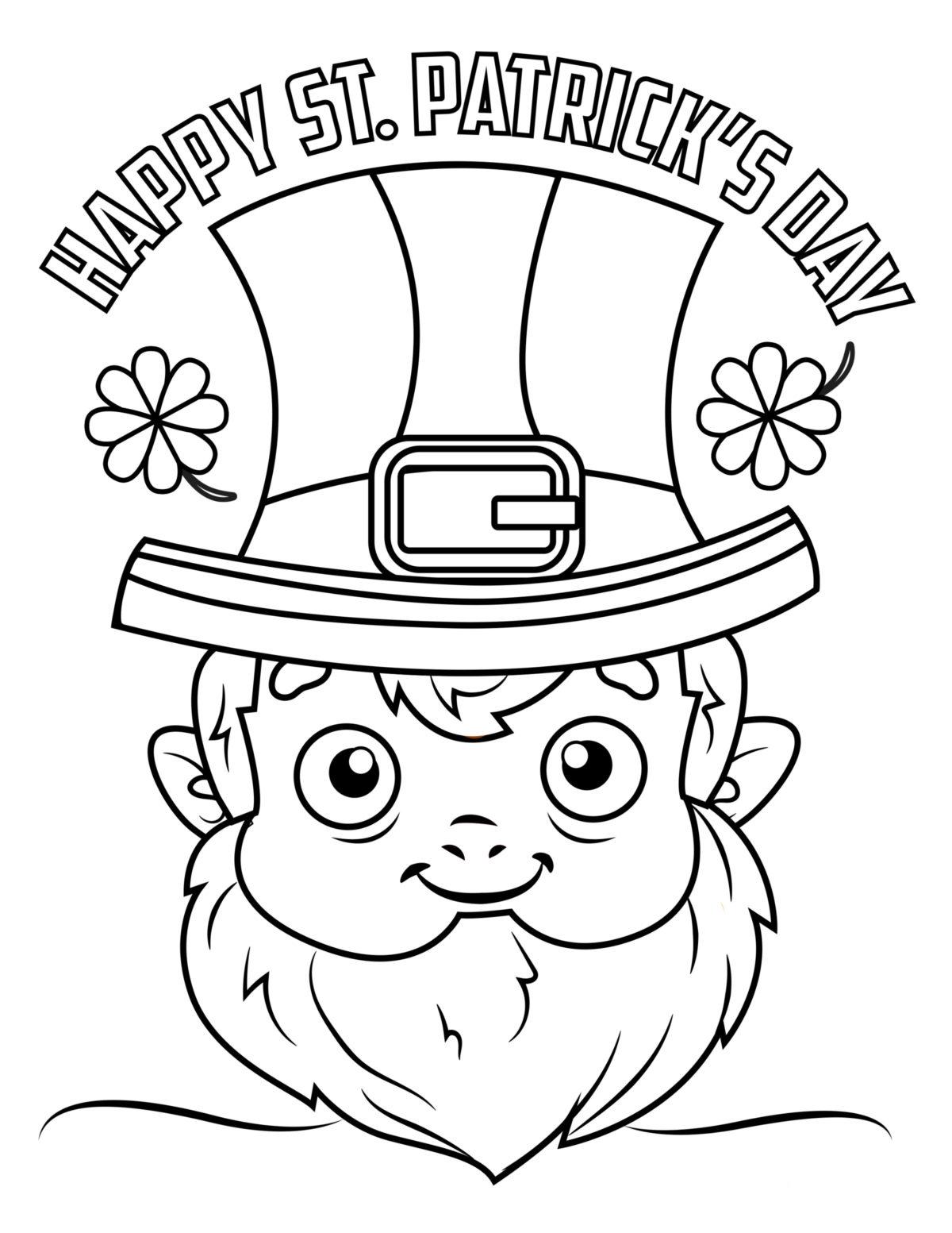 Happy St.Patricks Day Leprechaun Coloring Page