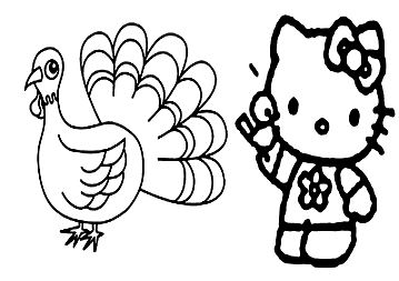 Happy thanksgiving Hello Kitty Coloring Page